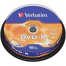 Диск DVD-R 4.7Gb Verbatim 16x Cake Box (10шт) 43523